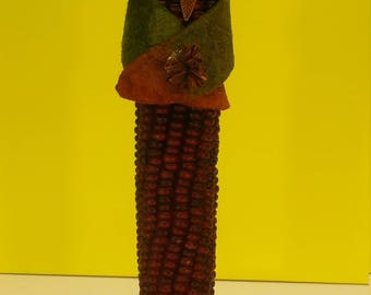 Fall Corn Angel with beaded face.