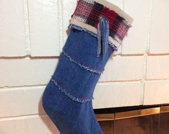 Denim Christmas Stocking Handcrafted and One of a Kind