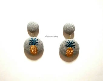 pineapple & coconut embroidery earrings (Thai famous fruits)