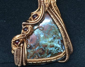 Jasper-Agate and Garnet Pendant in Copper