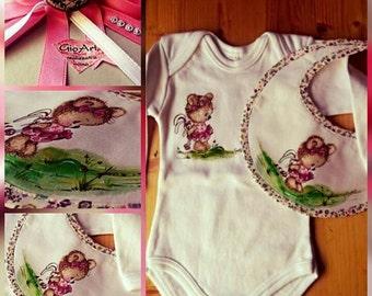 "Complete body-Baby bib ""teddy bear with Rabbit"""
