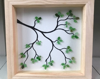 Framed seaglass picture - Branch