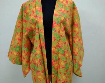 Japanese haori kimono orange floral kimono jacket /kimono cardigan/kimono robe/#026