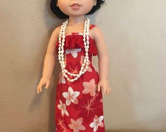 Wellie Wisher Hawaiian Luau Dress - Red