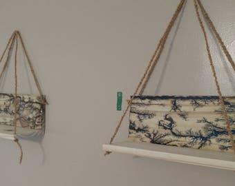 fractal burnt coconut rope hanging shelf