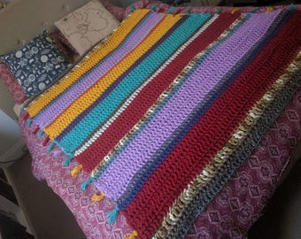 Colorful Handmade Crochet Afghan with Tassels