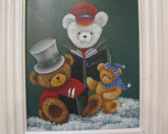 Caroling bears painting
