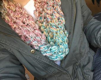 Multicolored Crocheted Scarf