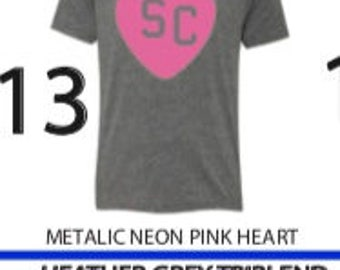 Heather grey tri-blend pink glitter heart