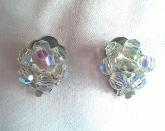 1950s or 1960s small aurora borealis crystal beaded earrings, clip-on, vintage costume jewellery