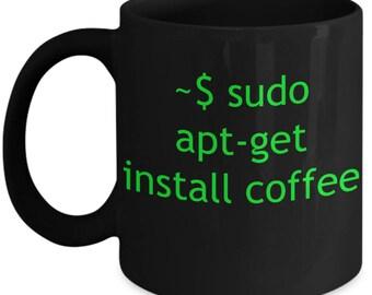 Mug Linux Apt-Get Install - Black ceramic cup for coffee or tea