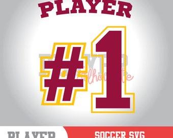 Soccer SVG, Number 1 Player SVG, #1 Player, Sport svg, Soccer digital clipart, Soccer silhouette, cut file, design, A-056