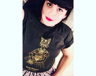 Emily Dickinson cat tee