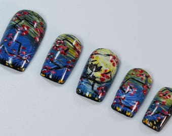 10 Whimsical Abstract Nails, Press On Nails, Glue on Nails, Full Coverage Nails