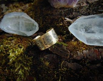 Celtic ring, Brass viking ring, Moon goddess ring, Triple moon ring, medieval ring, witch ring, pagan ring , moon ring ring, triple goddess