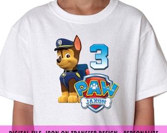 Paw Patrol , Iron On Transfer , Paw Patrol Boy DIY Transfer , DIY Paw Patrol Boy Birthday Shirt , Any Name , Any Age , Digital Files Only