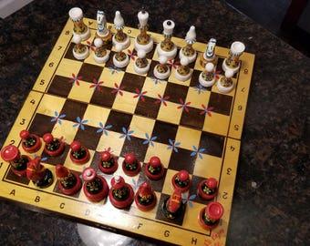 USSR Era Hand Painted Chess Set, Wood