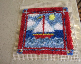 Sailboat Finished Latch hook 12 x12 in. Free shipping US