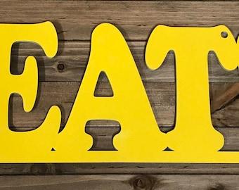 Eat sign, kitchen sign, laser cut sign, dining room sign, phrase sign, food sign, housewarming gift, pantry sign, restaurant sign, wood sign