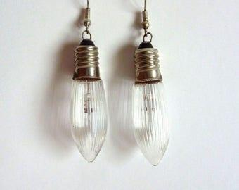 Handmade vintage Christmas lamp earrings-Christmas lights-glass bulbs-jar drops-earring lamp with ridges-light lights
