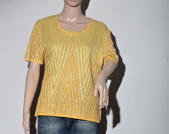 Sweater yellow short sleeve 70's