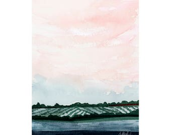 Pink Sky Watercolor Painting, Blue Landscape Print, Cloud Art Print, Giclée Fine Art Print, Modern Nursery Wall Art, Landscape Wall Decor