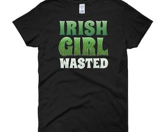Irish Girl Wasted Shirt Womens St Patrick's Day T-Shirt Cute Funny Irish Tee for Women Teens Ladies Drinking St Paddys Women's short sleeve