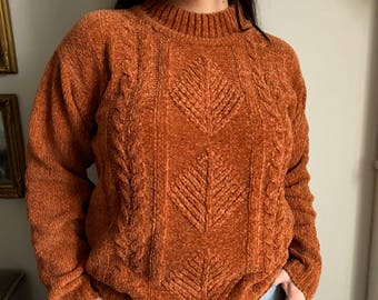 Orange Mock Neck Chenille Comfy Pullover Patterned Sweater