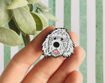 white doodle dog soft enamel lapel pin