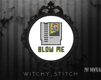 Blow Me Nintendo Mario - Cross Stitch Pattern, Gamer, Modern Subversive, Modern, Rude, Video Game
