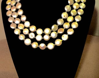 Freshwater Coin Pearls with Swavorski Crystal Necklace