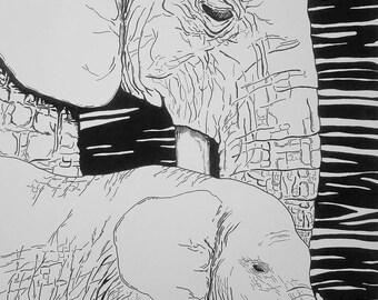 Elephant Mother Pen & Ink Print