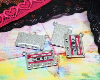 Cassette Tape Charms Silver Set of 2