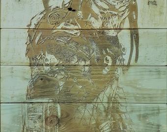 Predator, Laser engraved onto upcycled pallet wood.