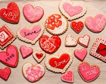 Dozen Assorted Valentines Sugar Cookies