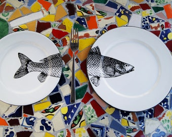 "Pair of Enamel Salad Plates Mexican Fish Original Art Work Contemporary Design ""Sip of the Sea"""