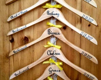 Personalized Wood Wedding Hangers, Bridesmaid, Bride, Wedding party, Bridal party