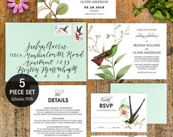 INSTANT DOWNLOAD Wedding Invitation Printable Template Set - Botanical Hummingbirds