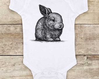 Fluffy Rabbit (d2) cute pet Zoo animal wild kingdom Shirt - Baby bodysuit Toddler youth Shirt cute birthday baby shower gift