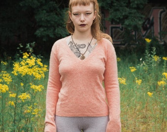 Peach Fluffy V Neck Jumper/Sweater