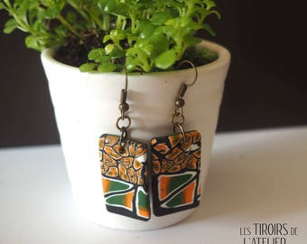 Rectangular earrings base orange green and black, ethnic, Bohemian, boho chic unique, colorful, psychedelic