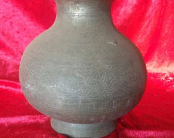 Ottoman Art Style Antique Hand Made Very Authentic Brass Water Pot / Lota #2526