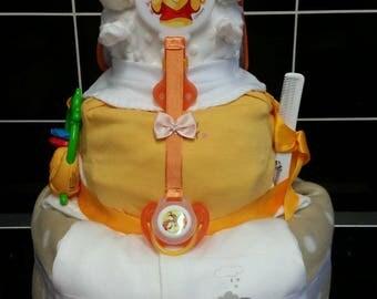 3 tier neutral nappy cake