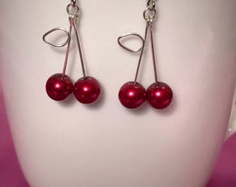 Cherry pearl earrings - silver colored
