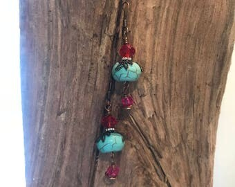 Turquoise colored bead, copper and Swarovski crystals earrings
