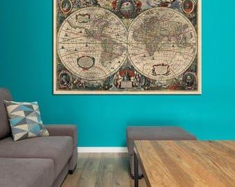 Double hemisphere etsy ancient world map double hemisphere canvas panels set large vintage world map print detailed world map gumiabroncs Images