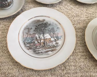 1977 Avon Currier and Ives salad plate