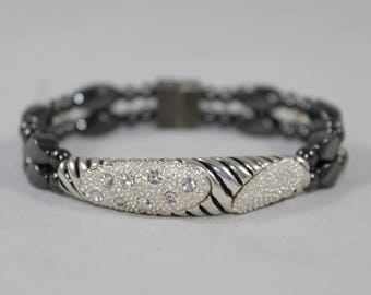 Slim Silver Rhinestone Bar High Quality Magnetic Bracelet