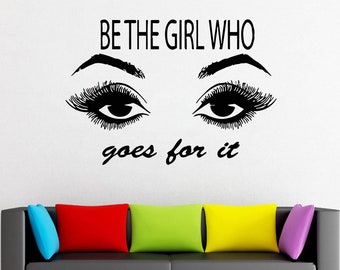 Wall Decal Window Sticker Beauty Salon Woman Face Eyelashes Lashes Eyebrows Brows t655
