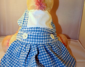 "Handmade Wizard of Oz inspired small dog dress ""Dorothy"""